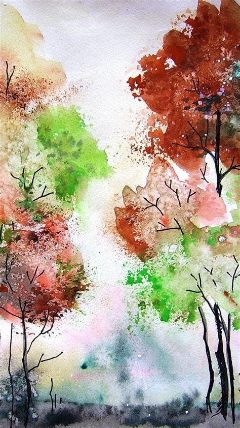 paintings trees artwork watercolor wallpaper