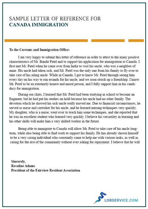 letter  reference  immigration  canada writing