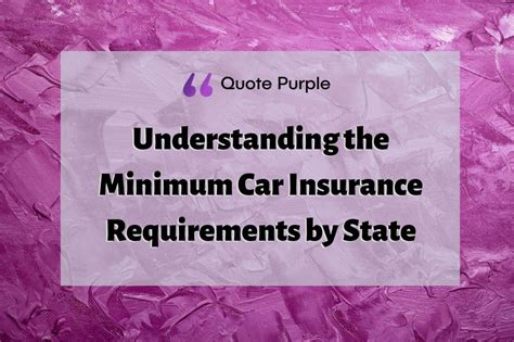 Each state has a minimum car insurance coverage amount require for drivers. Understanding the Minimum Car Insurance Requirements by State - Quote Purple