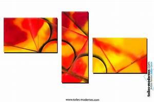 Tableau Triptyque Moderne : triptyque orange rouge et jaune chaleur intense acheter ~ Teatrodelosmanantiales.com Idées de Décoration