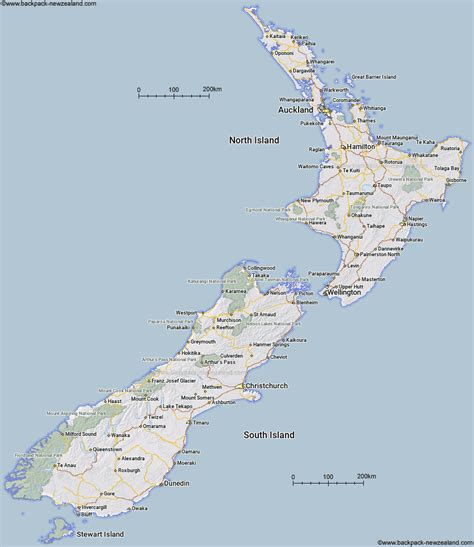 map   zealand showing major roads towns  cities