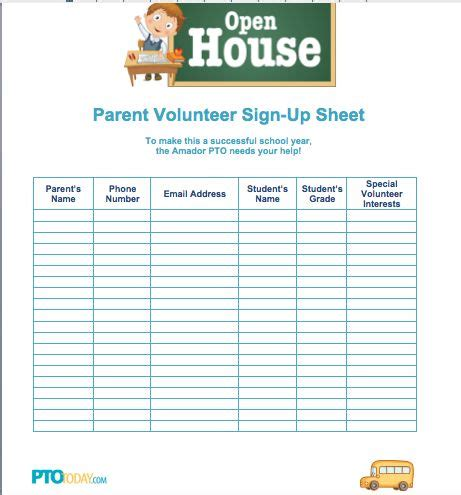 sign up sheet for open house from pto today back to 779 | b3e8d910dd53a24fd74908d869bb20e9