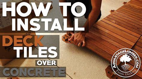 install deck tiles  concrete youtube