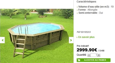 piscine bois semi enterr 233 e leroy merlin
