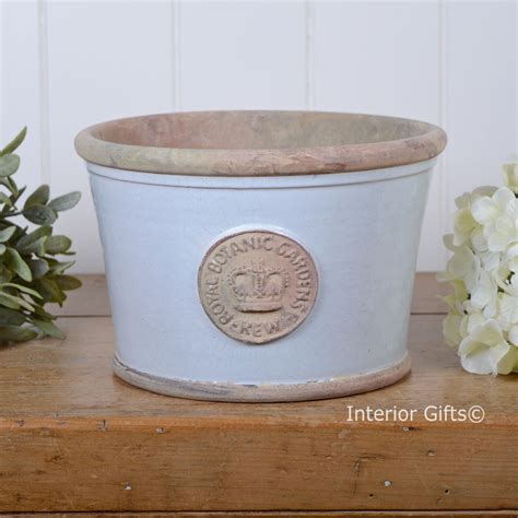 kew garden low planter medium duck egg blue royal