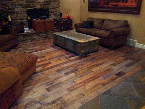 tile and warehouse scraped mixed specie wood planks rustic hardwood