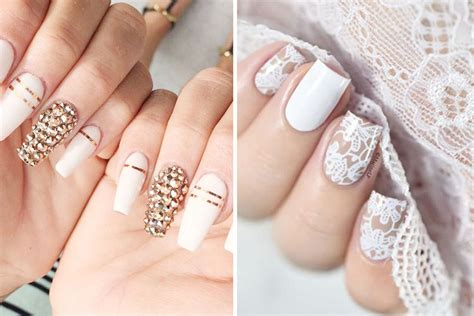 Glam White Wedding Nails We Love