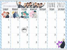JUNE 2017 Calendar for BTSthemed Planner ARMY's Amino