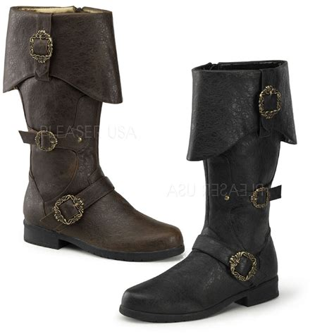 PIRATE BOOTS PLEASER MENS FANCY DRESS COSTUME ACCESSORY ...