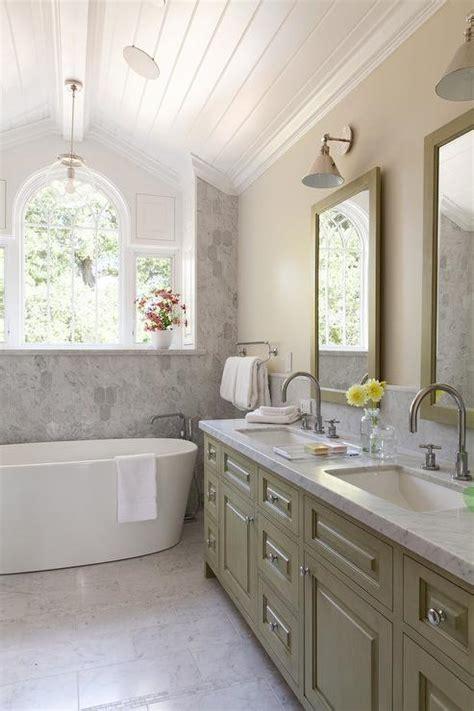 green double bathroom vanity  carrera marble countertop transitional bathroom