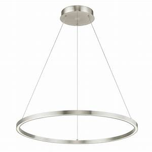 Modern 32-Inch LED Ring Pendant Light Satin Nickel Finish ...