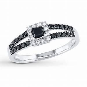 Kay - Black Diamond Ring 1/2 ct tw Princess-cut 10K White Gold