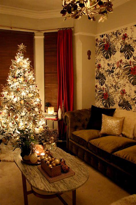 eclectic boho glam christmas tree  living room