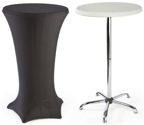 Round Cocktail Table With High Stainless Steel Stand And