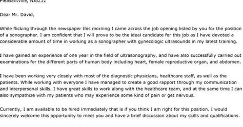 sonographer cover letter cover letters samples job
