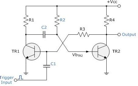 Monostable Multivibrator Using Timer Electronics Circuit