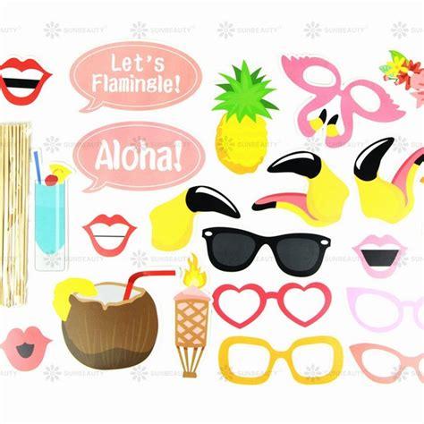 printable hawaiian photo booth props luau hawaiian decorations pool summer