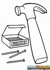 Coloring Nails Hammer Nail Printable Oeªu Colorier Oeµu Mandala Mewarnai Halaman Oeª Template ðºn ðºð sketch template