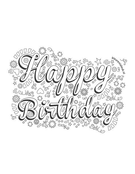 Kleurplaat Handletteren by Kleurplaten Verjaardag Volwassenen Verjaardag