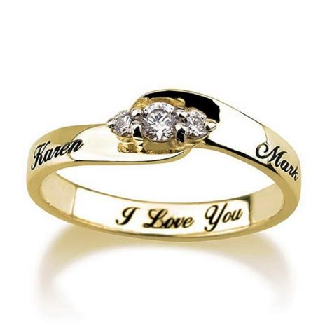engraved engagement promise ring gold plated couples ring wedding bands rings purity