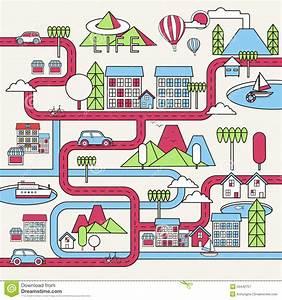 Cartoon Downtown Illustration Stock Vector - Image: 55442757