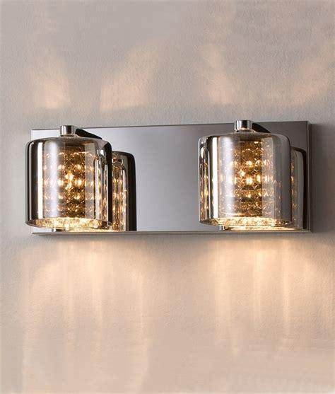smoked glass chrome wall light