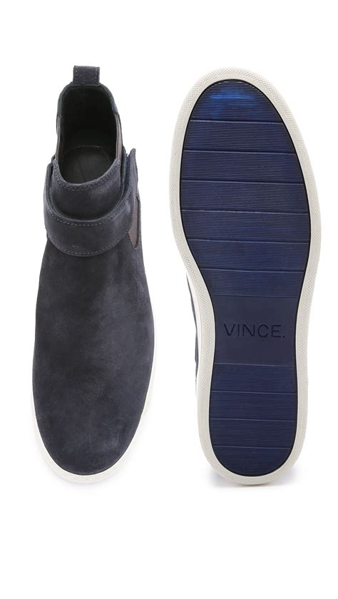 bbe5f778a902 1128 x 2000 www.lyst.com. Lyst - Vince Belmont Suede Pull On High Top  Sneakers ...