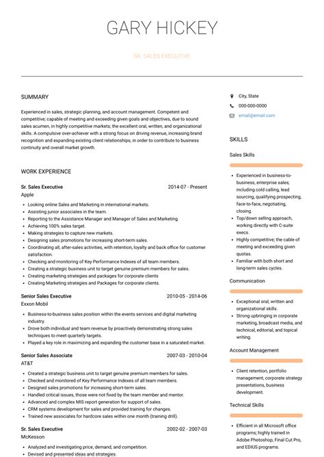 Sales Position Resume by Senior Sales Executive Resume Sles Templates Visualcv