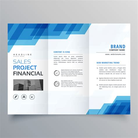 Free 4 Fold Brochure Template Best Sles Templates Blue Geometric Trifold Business Brochure Design Template