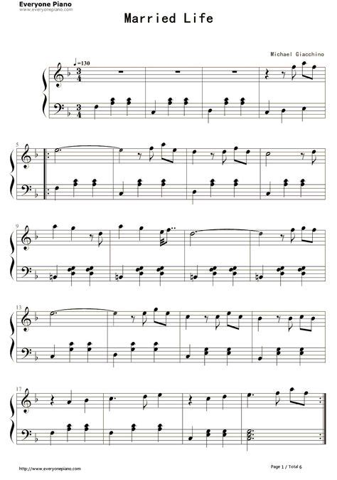 The piano student piano sheet music and music lesson resources. Married Life-Up OST-Michael Giacchino Stave Preview 1 | Partituras, Musica partituras y Piano