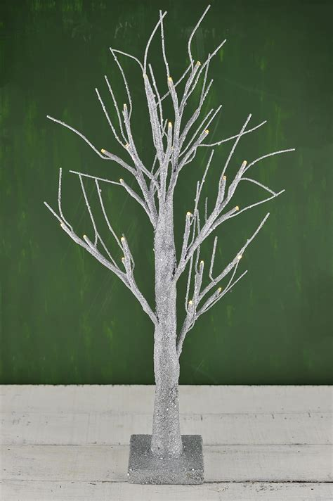 led  silver glitter tree silver battery operated