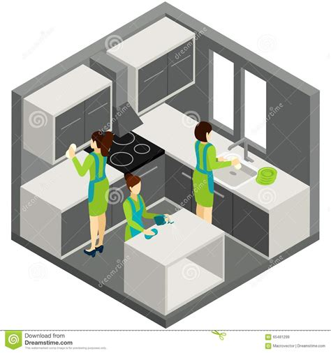 pictogramme cuisine pictogramme isométrique d 39 aide de ménage de nettoyage de