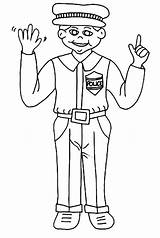 Police Coloring Officer Stand Straight Netart sketch template