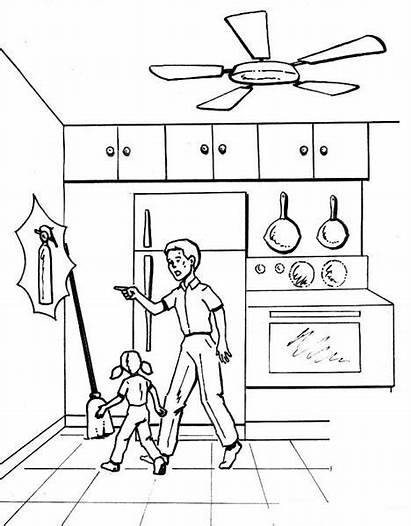 Safety Kitchen Coloring Pages Fire Worksheets Hidden