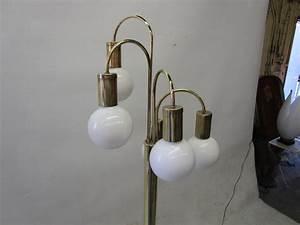 Waterfall five arm brass floor lamp by robert sonneman for for Modern 5 arm floor lamp