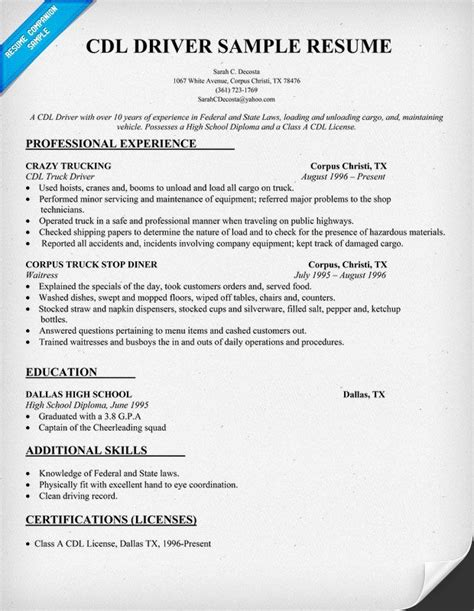 cdl driver resume sample resumecompanioncom trucking