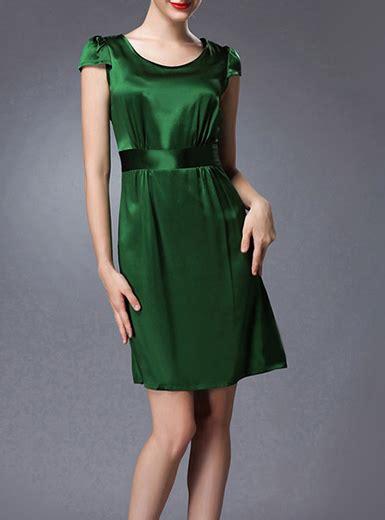 womens green dress short high sleeves high waist belt