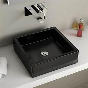 vasque a poser carree noire 40x40 cm ceramique pure With vasque carrée à poser salle de bain