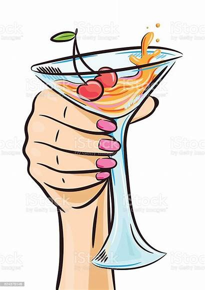 Woman Hand Cocktail Holding Glass Cherry Drink