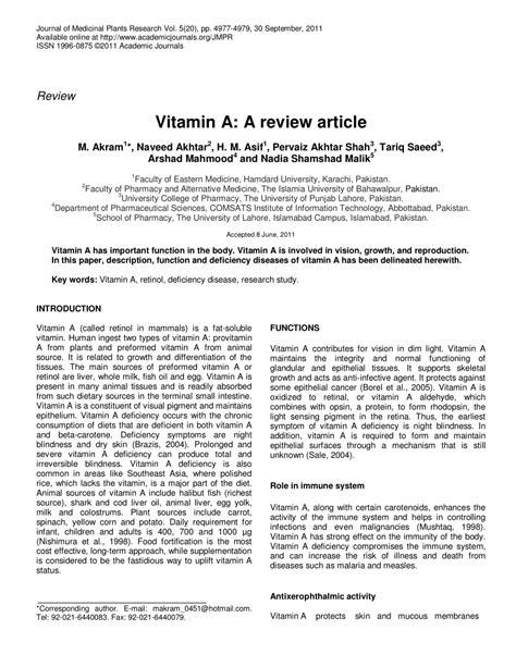 (pdf) Vitamin A A Review Article