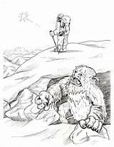 Bigfoot Coloring Pages Yeti Sasquatch Abominable Snowman Template Kolorowanki Clipart Printable Sheet Cute Disney Getdrawings Library Popular Happy sketch template