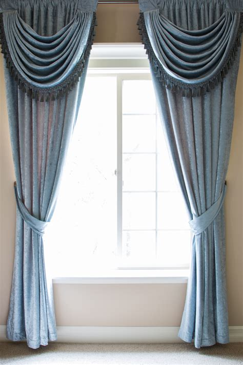 Blue Swag Curtains by Blue Chenille Flip Pole Swag Valance Draperies