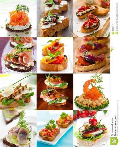 sandwiches  canape collage royalty  stock images