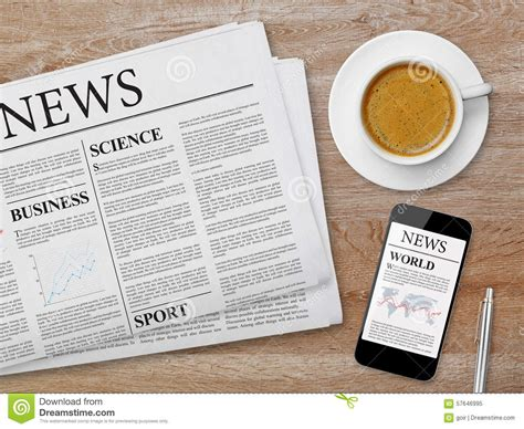 News Page On Tablet, Newspaper And Coffee Stock Image Hot Coffee Podcast Alcohol Drinks Yeti Mug On Sale Cold Milk Question Urn Coupons Alcoholic Beverages Shark Tank