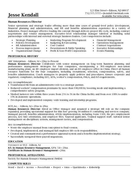 Human Resource Manager Resume Objective by Exle Human Resources Director Resume Free Sle