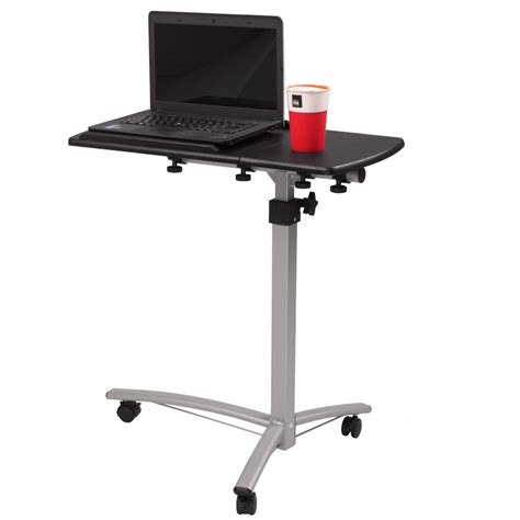 rolling laptop desk table adjustable angle height desk hospital home laptop tray