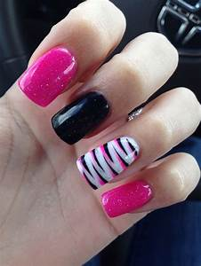 37 best Black & pink nails images on Pinterest | Nail ...