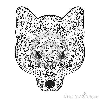 zentangle stylized fox head sketch  tattoo   shirt