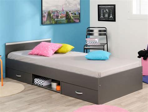 Jugendbett Bett 90x200 Grau 2x Bettkasten Lattenrost