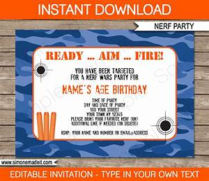 Nerf Printables Blue Camo Editable Birthday Party